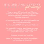 BTS 3rd Anniversary Giveaway! Read rules for more info. GA ends at 13th June~ #LoveBTS #방탄소년단 https://t.co/SHtEfMbFBd