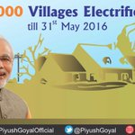 As on 31 May 2016, over  8000 villages have been electrified for the 1st time since independence #TransformingIndia https://t.co/HDnV9c1mpj