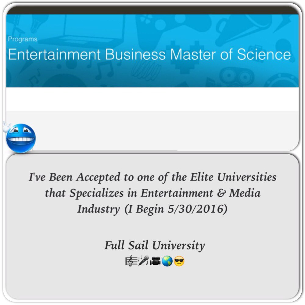 """#It'sGrindingTime it has Begun?? #Future Bachelor's & Master's Degree in """"Entertainment Business"""""""