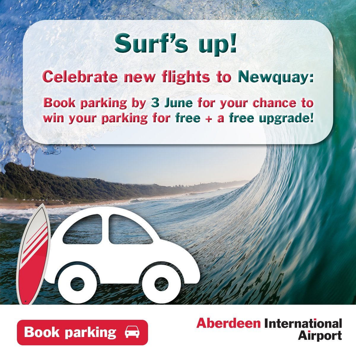 Celebrate new flights to Newquay! Book parking by 3 June & you could win it free + upgrade!
