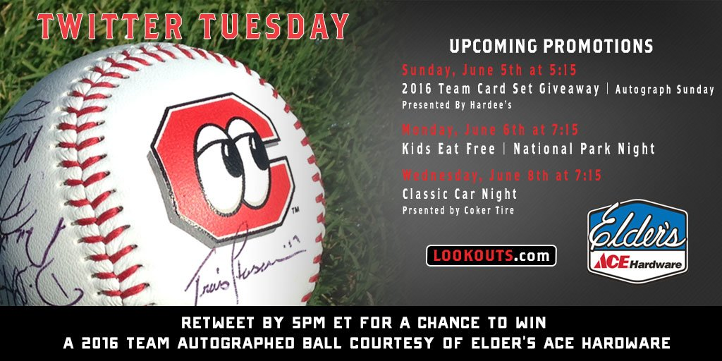 It's #TwitterTuesday! RT by 5pm ET for a chance to win a 2016 #Lookouts Team Autographed Ball!  Lookouts return 6.5! https://t.co/qsh3LjmVhc
