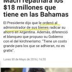 """El relato. De """"no hay activos en el exterior"""" a """"me mostró las pruebas"""" a Macri devolverá los fondos al pais. https://t.co/afKLambtNa"""