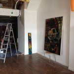 Installing the show! Sky Ground, new paintings by James Cliff opening tomorrow 6pm! #hull #arthull https://t.co/JE33fVfVlp
