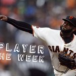 Congratulations Johnny Cueto -- National League Player of the Week! #SFGiants https://t.co/J8yG3NF8MF