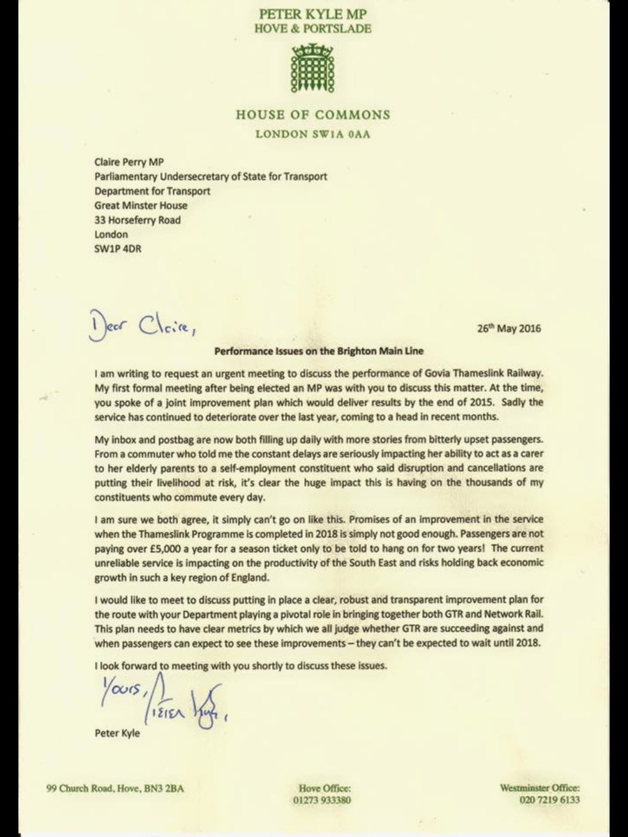 Letter from @peterkyle to Transport minister about poor Southern Rail performance. https://t.co/kPOa6xIvKX
