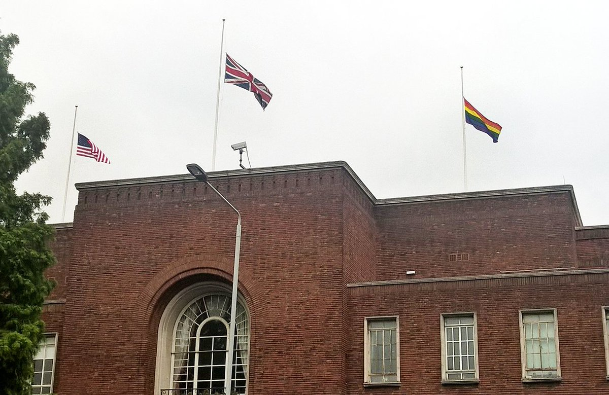 UK, USA & LGBT flags at half-mast over H&F Town Hall in solidarity after abhorrent terror shootings in FL #lovewins https://t.co/sjSfSV1vDv