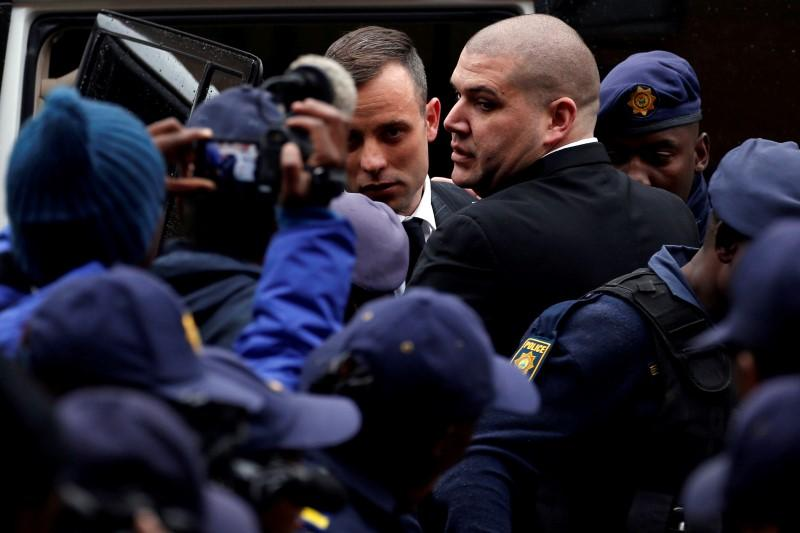 Oscar Pistorius arrives in court for sentencing after murder conviction