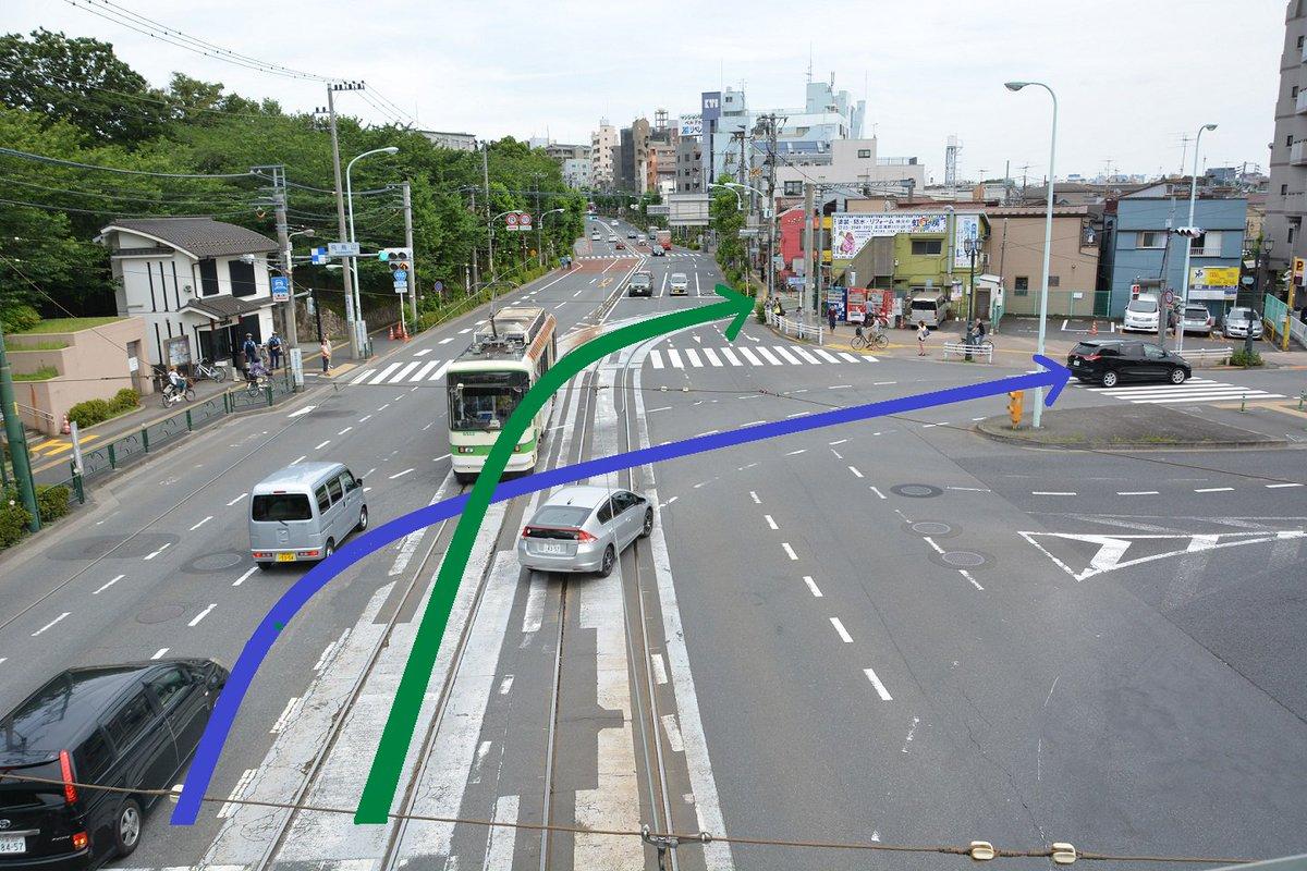 【都営交通からのお知らせ】この飛鳥山交差点は都電で最も事故が発生しやすい所です。ここでは車は右折(青)しますが、都電は直進(緑)します。都電も細心の注意を払っていますが、ドライバーの皆様も右後方からくる都電にくれぐれもご注意下さい。 https://t.co/IOtGiv1w7C
