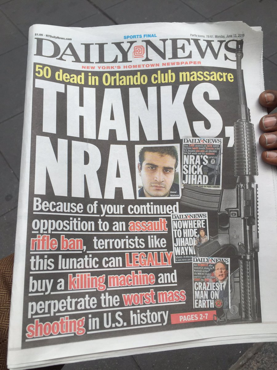 #ThanksNRA • I saw this terrific @nydailynews cover & walked to a newsstand to buy one. NYDN needs to be supported. https://t.co/lIKVhAOpbI
