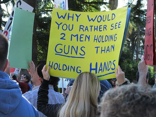 """""""Why would you rather see 2 men holding guns than holding hands?"""" https://t.co/VPg0E5QehE"""