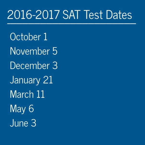 The 2016-2017 SAT dates have been set. Register here: https://t.co/YsGeiWGEeO https://t.co/SjJuqYKc5f