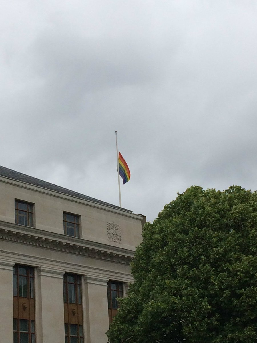 We're flying the Rainbow flag at half mast above our HQ in solidarity with #Orlando #loveislove https://t.co/5SqYQnLC24
