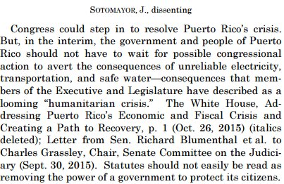 Sotomayor, J., dissenting, and not happy about the Puerto Rico bankruptcy decision. https://t.co/e8UCtAU6cp https://t.co/lvtHMMQuGw