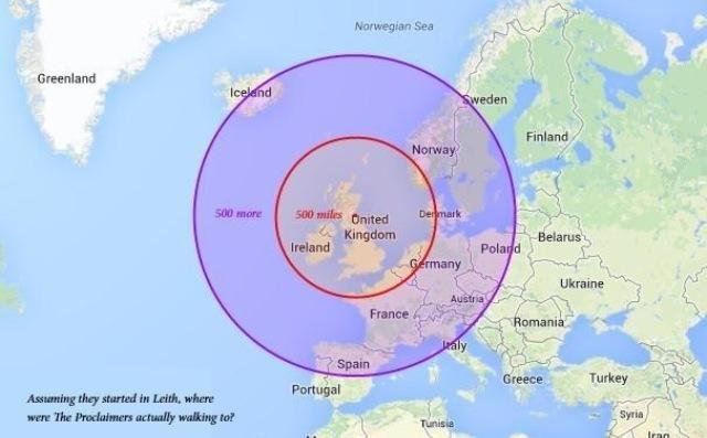 Here is a very useful map showing where the Proclaimers are prepared to walk to. https://t.co/5vJG04QvDd