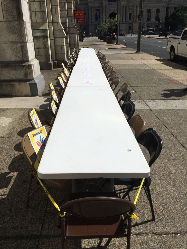 50 empty seats, including 1?for the killer, outside United Methodist Church on Broad Street. #Pride2016 #Orlando https://t.co/Ak6wDrYfGt