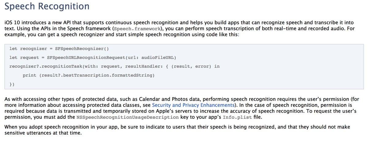 iOS 10 ships with Speech.framework, a builtin realtime speech recognition API. https://t.co/gRgU8k6isZ https://t.co/B8suPJzO6D