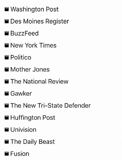 1st Amendment guarantees freedom of press. Here is a list of publications Trump has barred from his campaign so far: https://t.co/rtxt9dCq7u