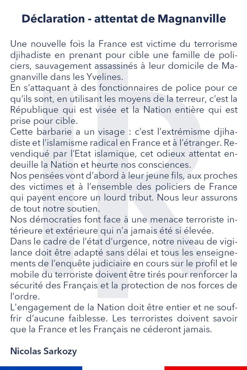 Déclaration de @NicolasSarkozy suite à l'attentat de #Magnanville. https://t.co/rYq8q4gwUb