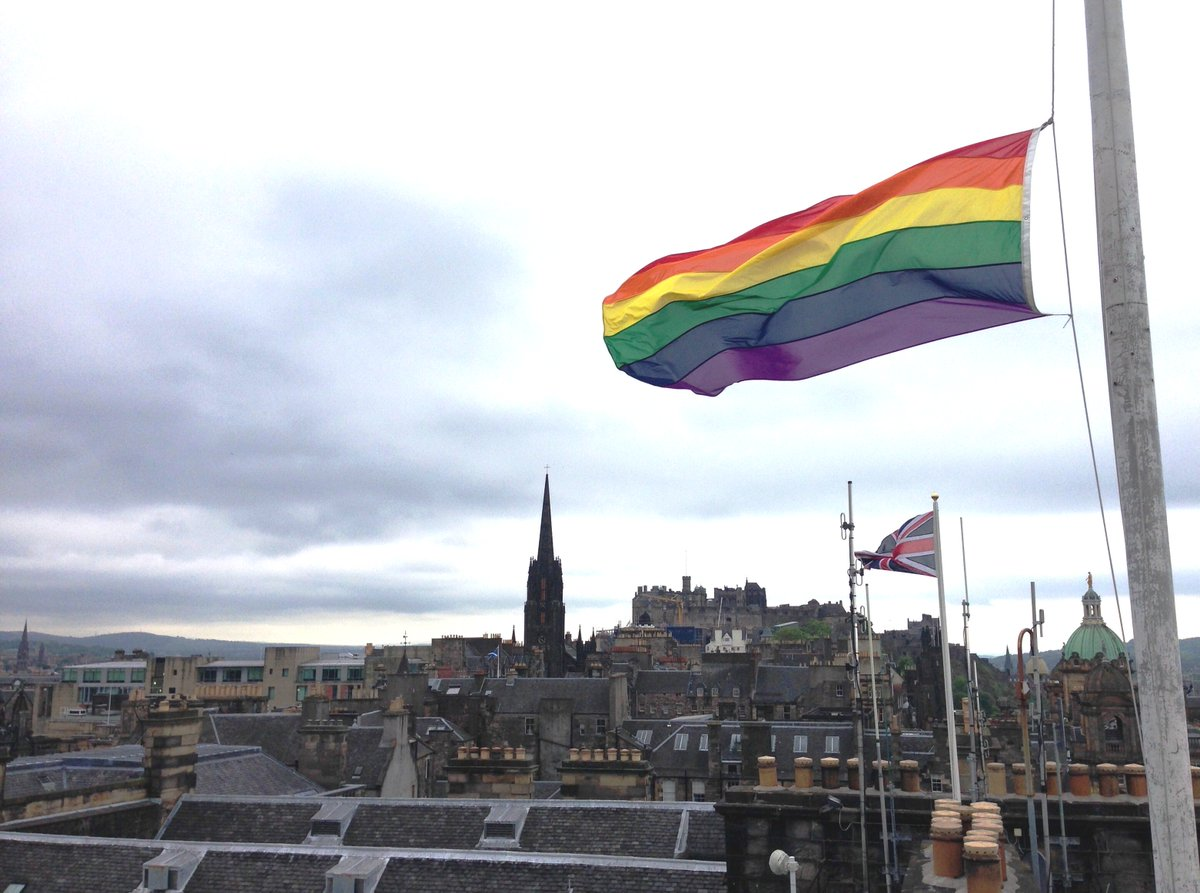 As the flag flies at half mast for the victims of #Orlando, a vigil will be held St Andrew Square at 7pm tomorrow. https://t.co/M6be58VKD0