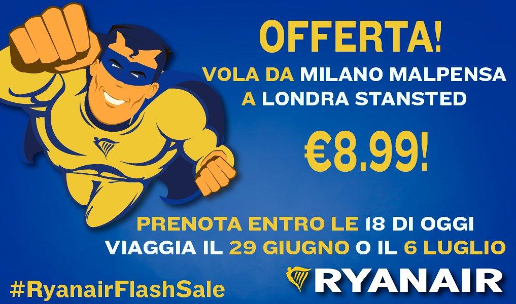É tornato RyanairFlashSale! Vola da Londra a Milano il 29 giugno o il 6 luglio a soli €8.99
