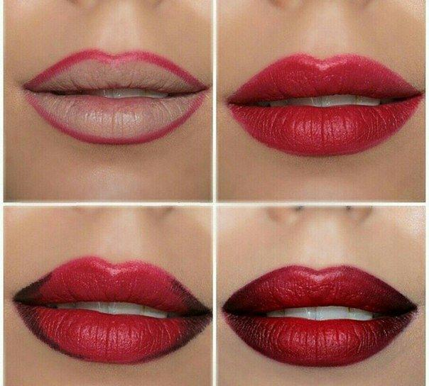 Красивый макияж губ пошаговое