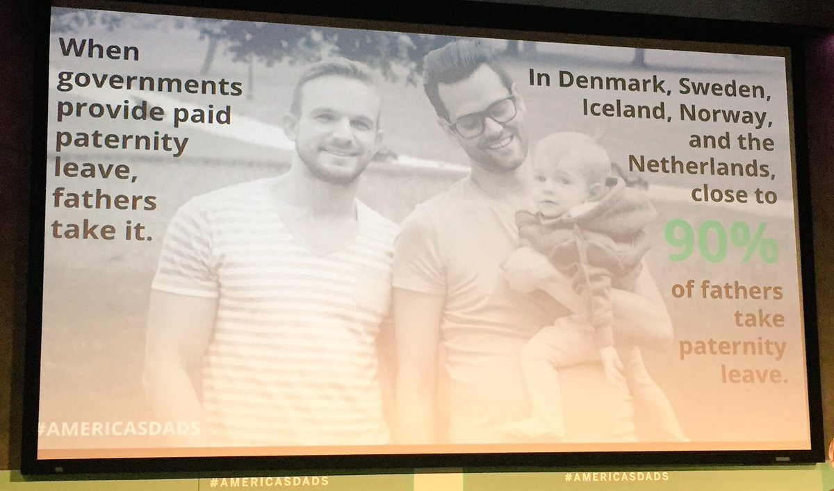 Wow! Denmark, Sweden, Iceland, Norway, & Netherlands: close to 90% of fathers take Paternity Leave! #AmericasDads https://t.co/P3IzTEW7Ib