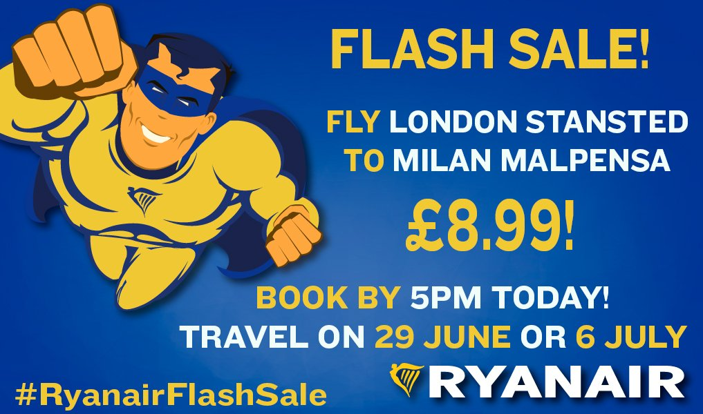 20 minutes left! Fly London to Milan on 29 June or 6 July for just £8.99