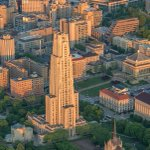 Oakland and the Cathedral of Learning in #Pittsburgh glow gold as the sun climbs into the morning sky https://t.co/bVIP4eDLoL