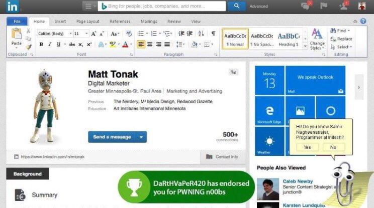 BREAKING! First version of #Microsoft #LinkedIn #leaked - via @ArnevBalen https://t.co/ytvEnznWGo