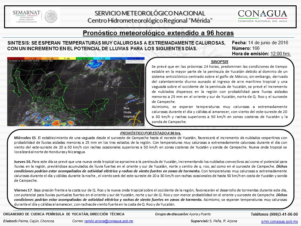 Aquí tenemos el pronostico del Centro Hidrometeorologico Regional de Mérida mencionando las lluvias que vienen!! https://t.co/6AQSj11f2h