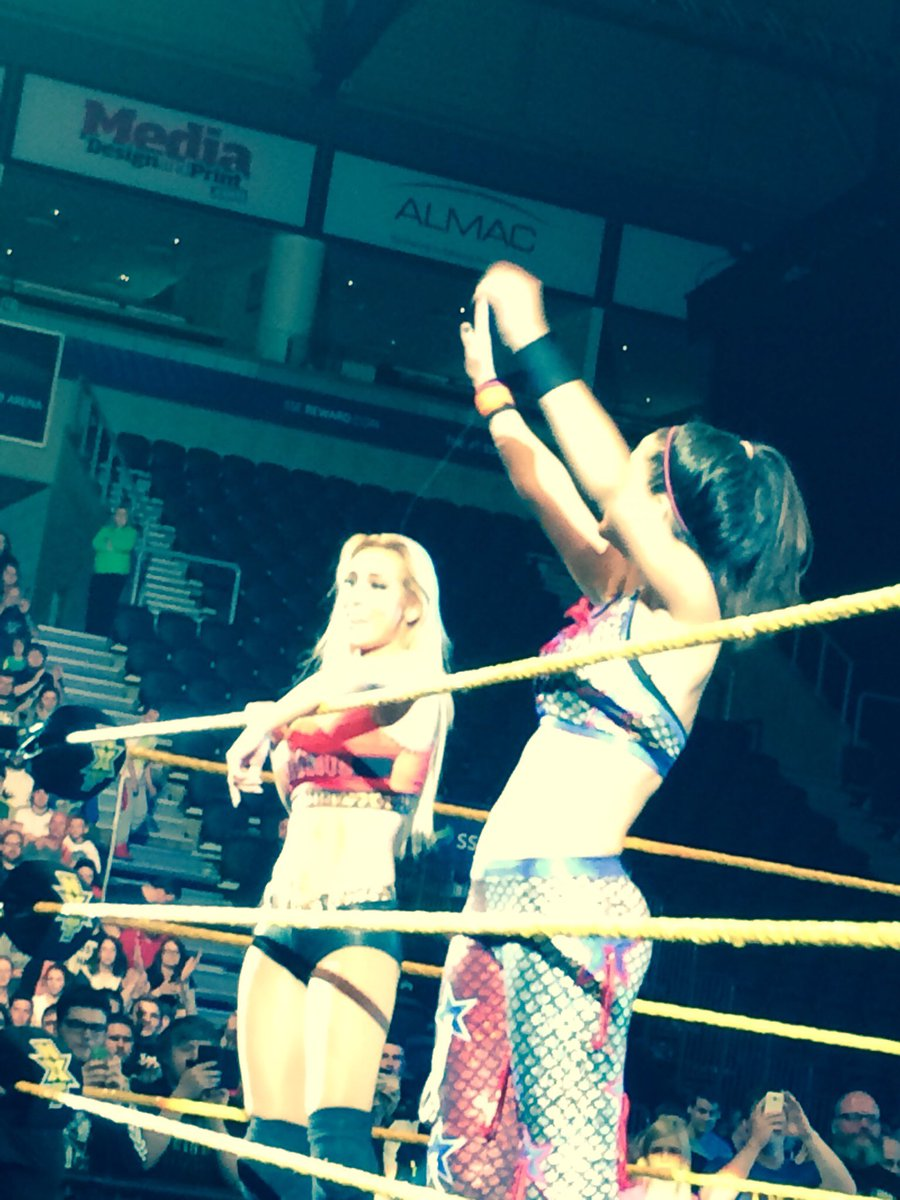 """The sight of @CarmellaWWE and @itsBayleyWWE inspired me to kick off a little """"Bay-Mell-a"""" chant at #NXTBelfast ! https://t.co/0zK4b9cvux"""
