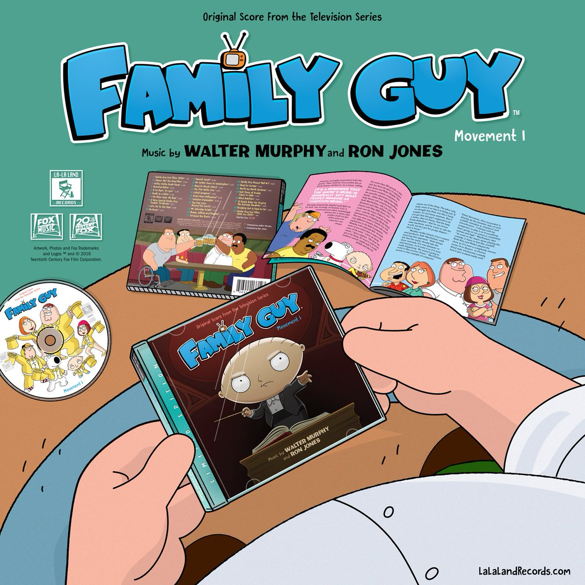 Coming 6/21 from La-La Land! Limited Edition #FamilyGuy score CD by #WalterMurphy & #RonJones @FamilyGuyonFOX https://t.co/pqCPPw2WO3