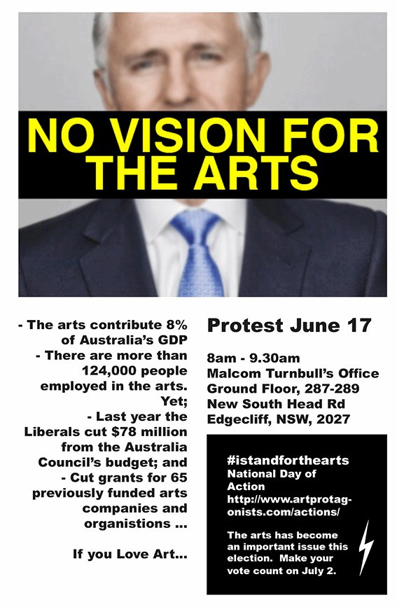 In Sydney? Care about arts funding? Come to the protest this Friday! #ausvotesarts #istandwiththearts https://t.co/EkiMjMbG8J