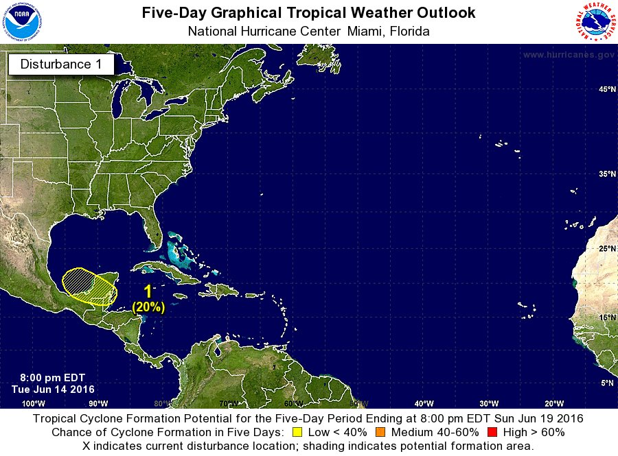 El NHC considera que existe un 20% de probabilidad de formación ciclónica para los próximos 5 días en nuestra zona! https://t.co/HdKdU1kwEM