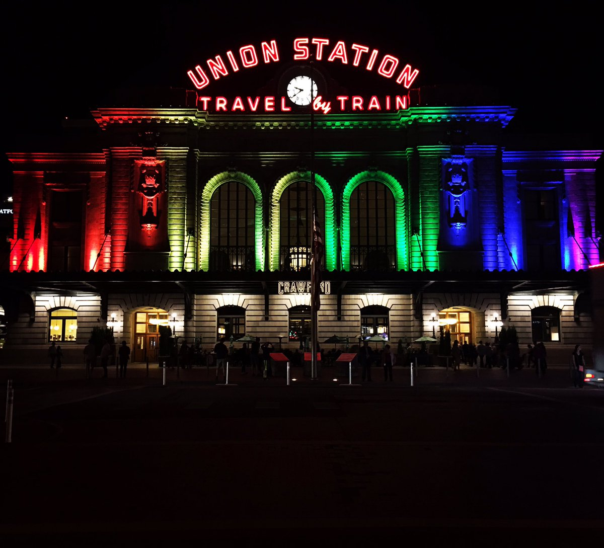 .@DenversStation lit up #rainbow for victims in #Orlando #WeAreOrlando #LGBTQ #Latinx #Pride #Denver #OneLove https://t.co/zUKxvNP934