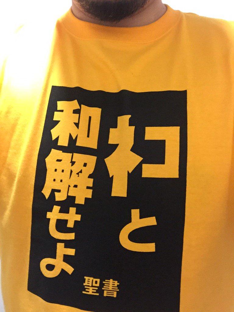 今日はこのTシャツでしたが、なにそれ、と説明を求められることが多く、説明が非常に面倒であることが発覚しました(長い) https://t.co/9c8tGd9tjO