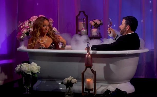 Mariah Carey interviewed in a bathtub by Jimmy Kimmel because why not?: