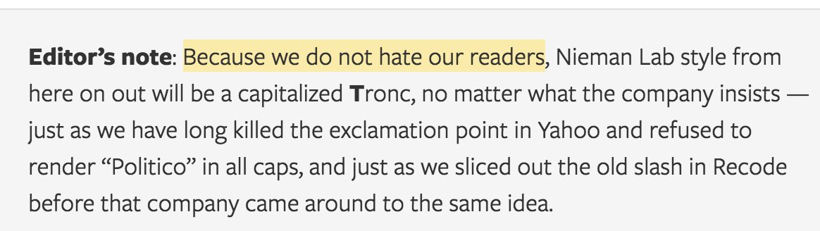 All Tronc jokes aside, this is an important point. Proper nouns are proper nouns. (And acronyms are acronyms.) https://t.co/LUm5nlldWD