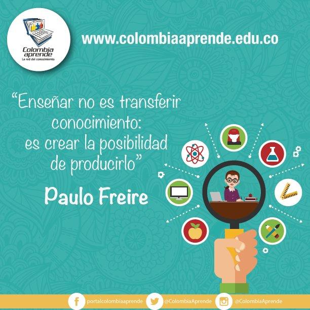 """""""Enseñar no es transferir conocimiento: es crear la posibilidad para producirlo"""" ¡#FelizViernes! https://t.co/F2rGDNavzd"""