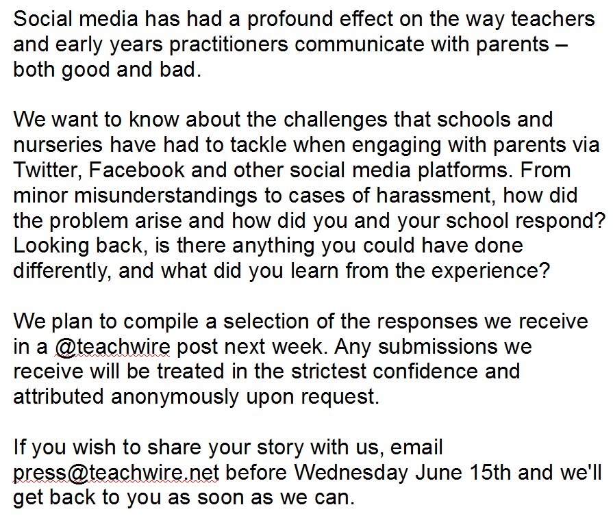 Teachers – would you be willing to share your experiences of parental engagement via social media? https://t.co/U4WGGQ1HUd