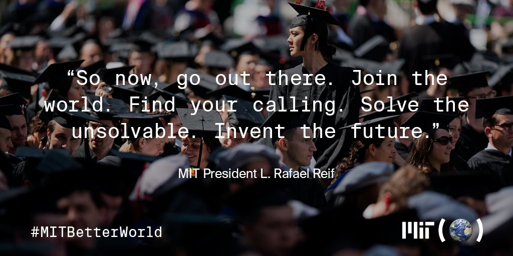 #MattDamon & @MIT President Reif encourage students to solve the unsolvable @mitcommencement #MITBetterWorld https://t.co/GyDjwjDSBp