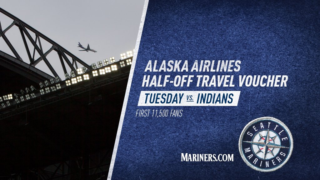 RT @Mariners: Travelers, join us Tuesday. The first 11,500 fans receive a 50% off Alaska Airlines voucher. https://…
