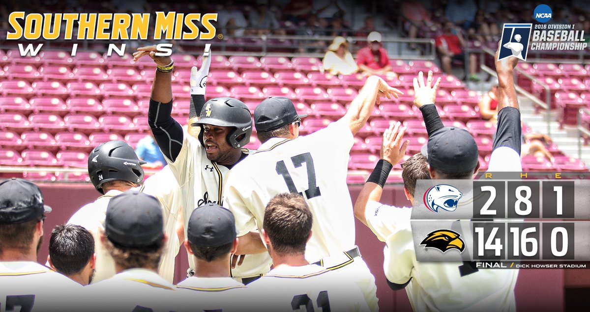 11-run inning powers @SouthernMissBSB to dominating 14-2 win in Opening Round! #SMTTT #RoadToOmaha https://t.co/3wudA9deBM