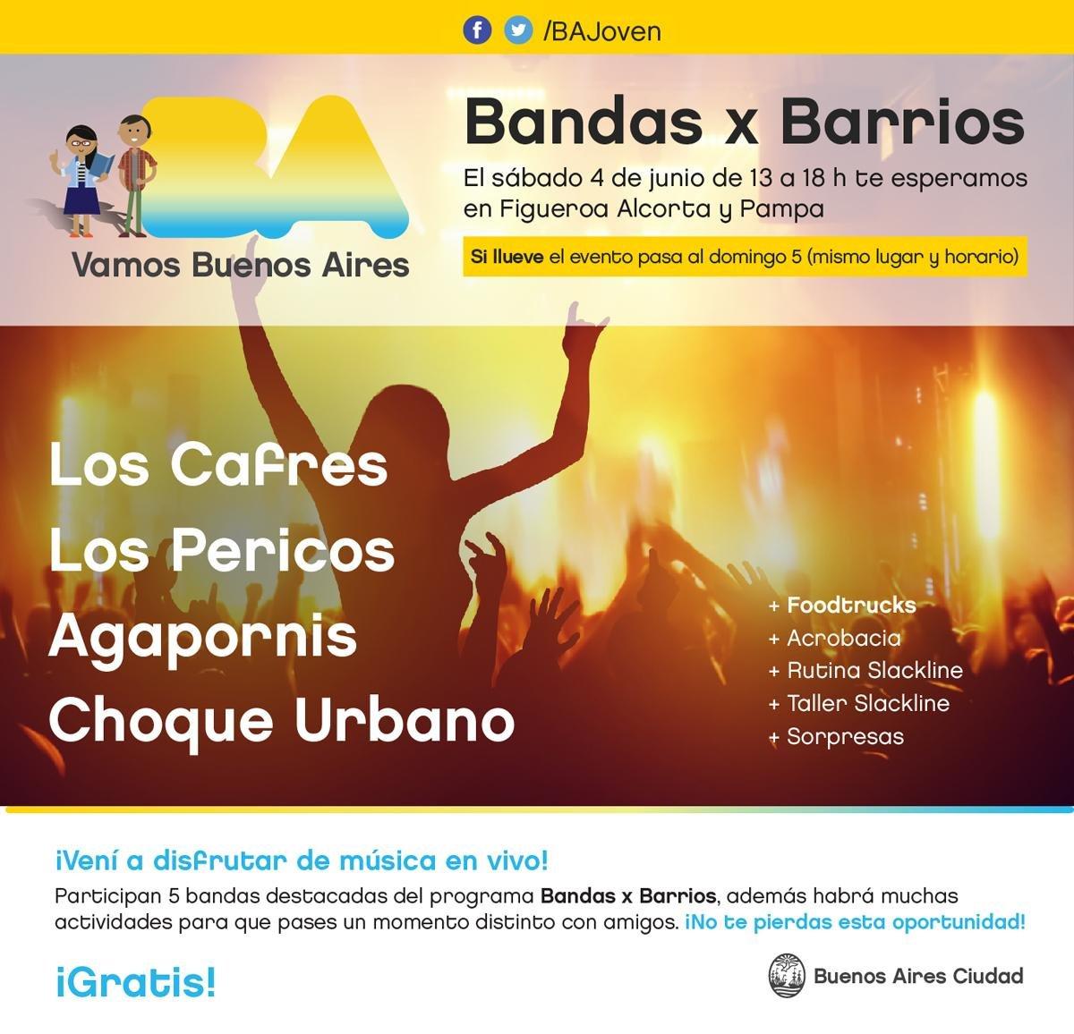 ¡Atentos! Este sábado 4 de junio lanzamos #BandasxBarrios 2016.  El evento es gratuito. https://t.co/61uH77yAx5