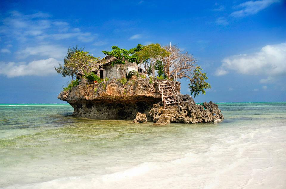 Small Fish Restaurant On Rock At Sea, Zanzibar | Photography by ©Tibor Mester https://t.co/TkTFbqfs1e