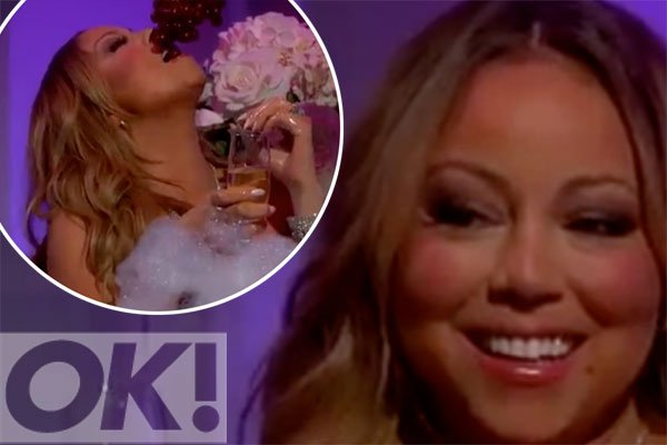 Watch: Mariah Carey is fed grapes in a bath tub on @jimmykimmel: