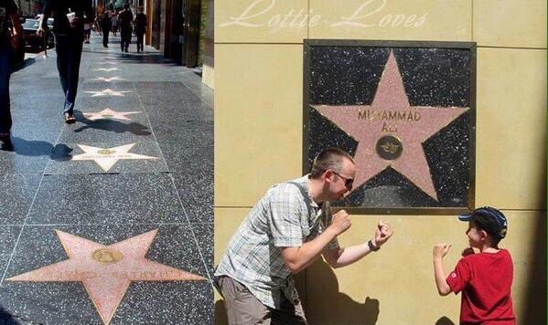 "The only Hollywood star mounted on a wall instead of the pavement, because ""Nobody walks all over Muhammad Ali"" https://t.co/tt5znxtdAx"