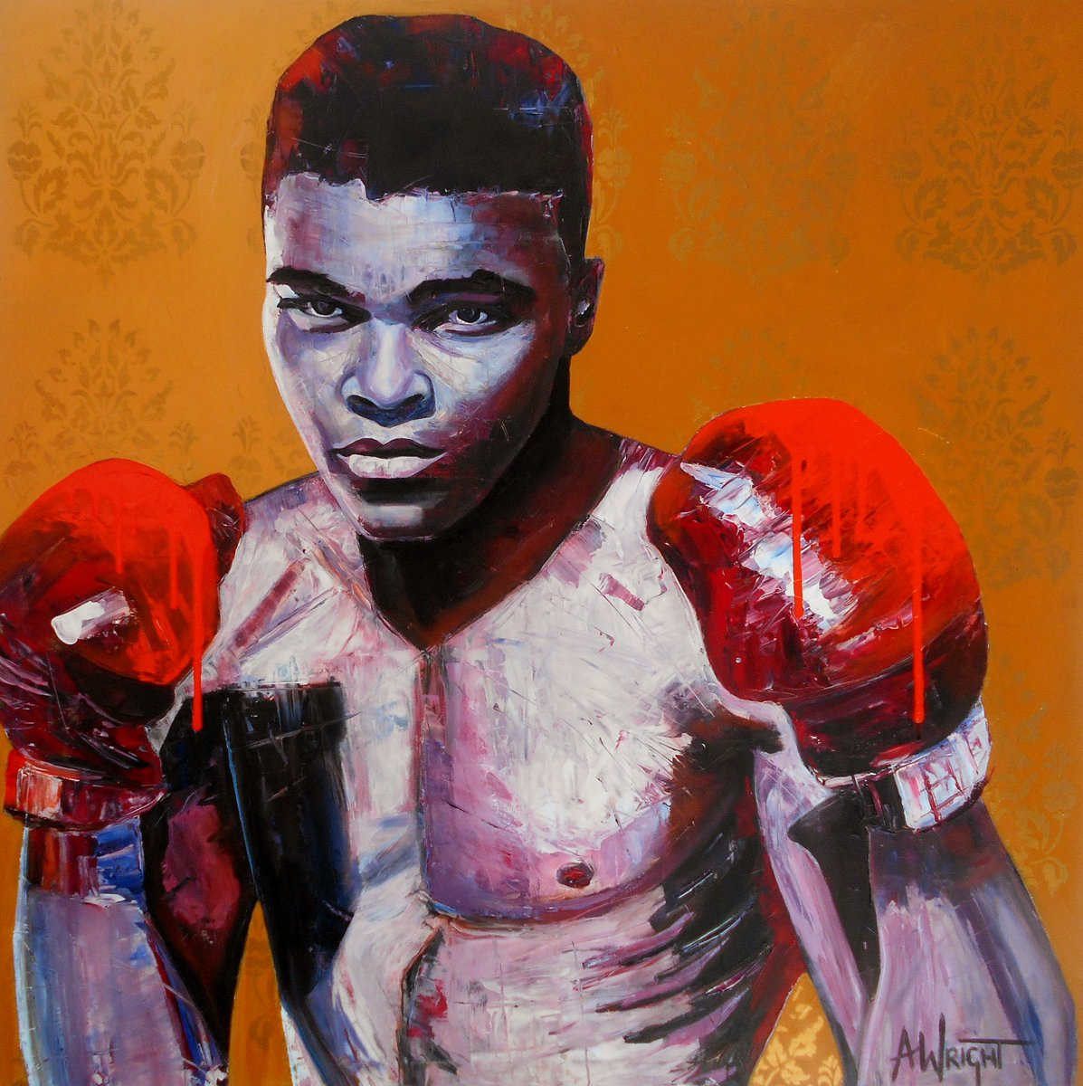 May he float like a butterfly and sting like a bee forever more. #RIPMuhammedAli. Painting by Angie Wright. https://t.co/a5OHeK5Sr3