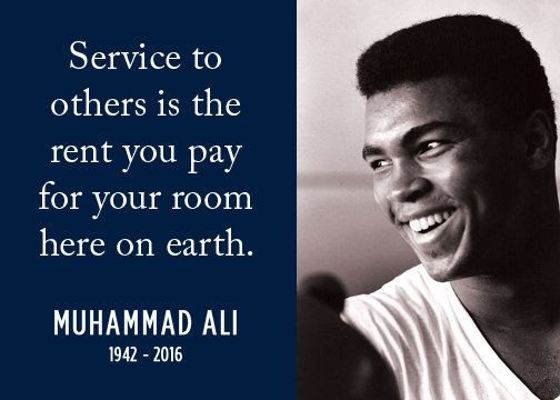 Paying our respects to a boxing legend who was so much more. His quote on service always resonates. #RIPMuhammadAli https://t.co/yc3Ov62fFa