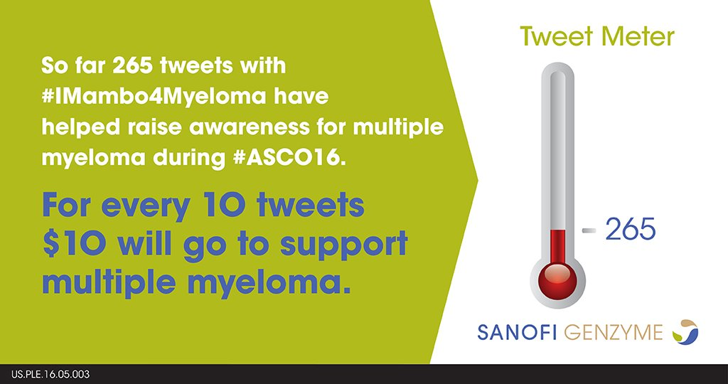 Thank you #ASCO16 for supporting myeloma awareness with  #IMambo4Myeloma https://t.co/3285dIpENL